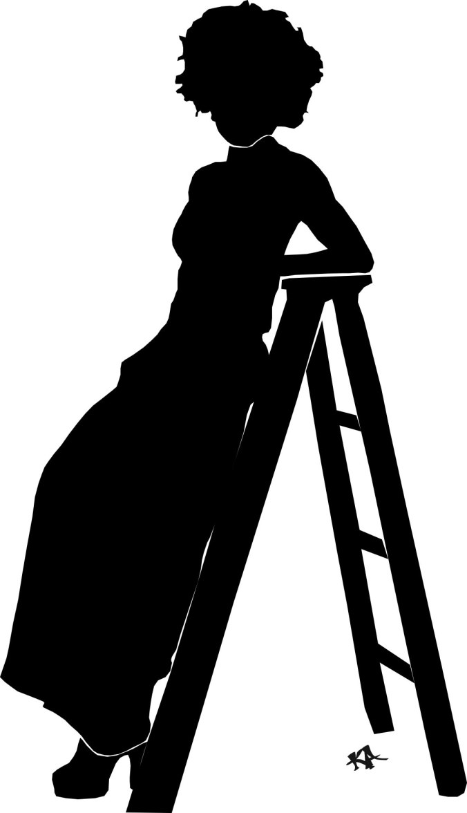 Woman on ladder